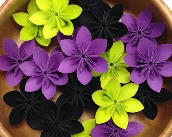 Hip Garden - Purple, Black, and Lime - 100 Origami Flowers with Free Shipping