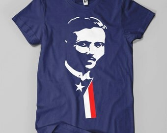 Pedro Albizu Campos - Men's T-Shirt - White and Red on Navy Blue (Griot Apparel)