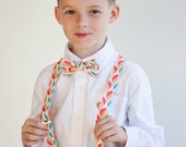 The Beau- boy's mint/coral/peach/blush collection bow tie/suspender sets- choose from 19 shades- nickel hardware/not brass