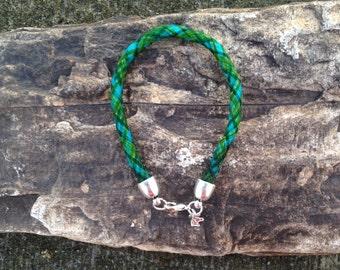 8 Inch Turquoise/Green/Blue Horse Hair Braided Horsehair Bracelet - 6MM Basketweave Braid