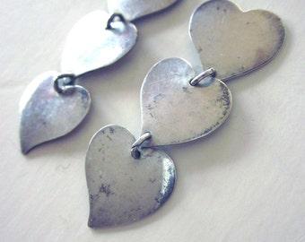 Sterling Silver Heart Earrings Valentines Jewelry