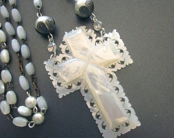 Vintage Mother of Pearl Carved Cross Necklace Shell Jewelry MOP Religious Assemblage Necklace