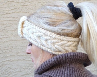 Knit headband wool cream off white gift for her