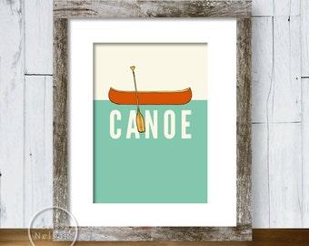 Canoe Illustration Art Print 5x7 - Instant Download