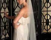 Veil Length Waltz with Raw Cut Edge - White, Diamond White, Ivory or Champagne Colors Available