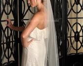 Veil Length Waltz with Raw Cut Edge - White, Diamond White, Ivory, Blush or Champagne