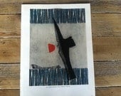 a bookplate print from a vintage james michener's book of japanese prints; color print of yamaguchi gen: deep attachment