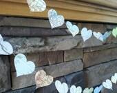 vintage map heart garland
