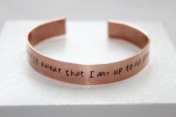I Solemnly Swear That I Am Up To No Good Hand Stamped Bracelet, Copper Bangle, Potter Inspired