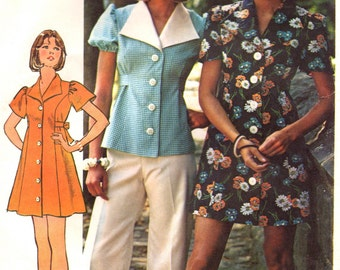 70s Short Dress Vintage Sewing Pattern Simplicity 6220 Bust 36""