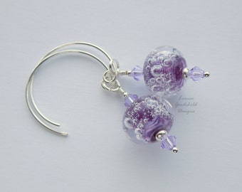Violet Fizz sterling silver lilac earrings, sterling silver earrings, lampwork glass lilac earrings