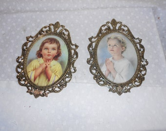 Picture Frames Ornate Little Girls Praying Metal   Made in Italy set of 2