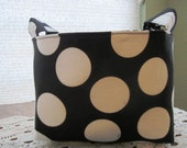 Fabric Organizer Basket Container Bin - Black with Large White Dots