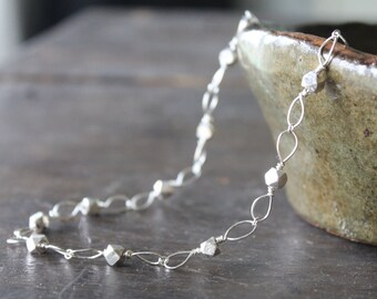 Princess Grace of Monaco Necklace Sterling Silver Handmade Links with Sterling Silver Thai Cubes - Artisanal Elegance