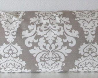 Ecru damask accent body pillow cover