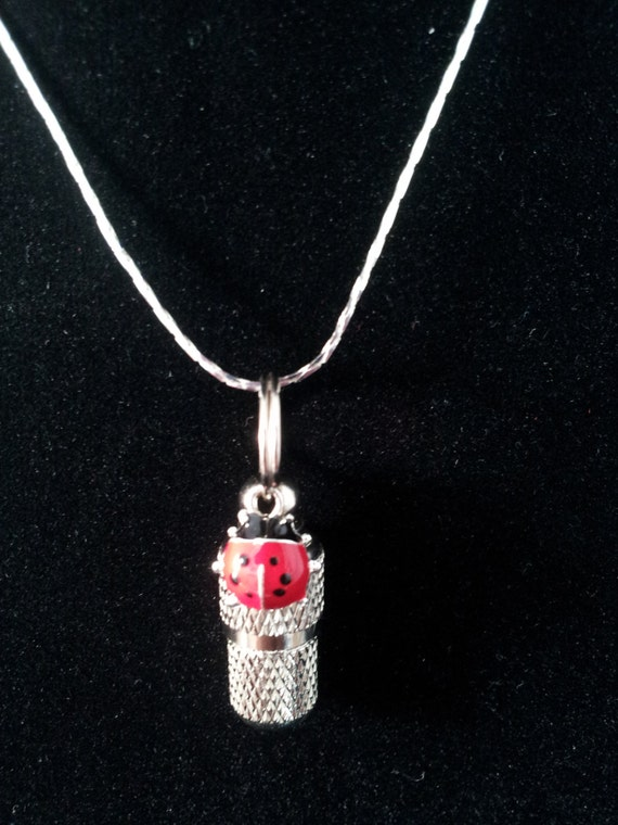 """Mini Ladybug CREMATION URN & Vial on 18"""" Necklace - Custom Hand Assembled....  Includes Velvet Pouch and Fill Kit"""