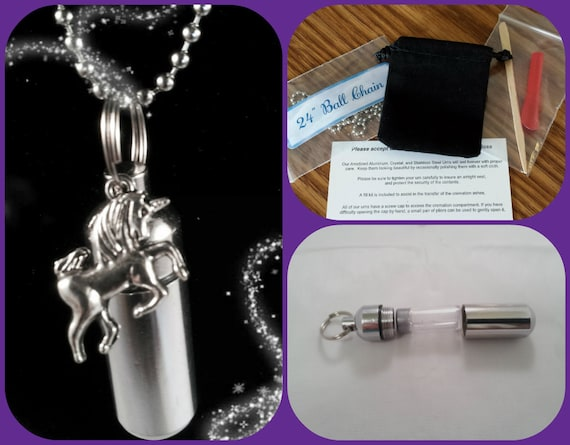 """COMPLETE SET - Cremation Urn & Vial on 24"""" Necklace  with UNICORN - Custom Hand Assembled.... With Velvet Pouch and Fill Kit"""