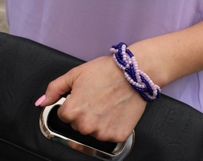 Navy blue and purple braided bracelet.