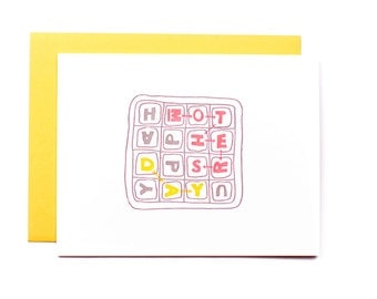 Boggle mother's day - letterpress card