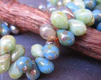 Lake Tahoe Picasso Mix Czech Glass Tear Drops