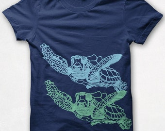 Womens Tshirt, Sea Turtles, Fitted Shirt, Graphic Tee, Screenprinted - Navy