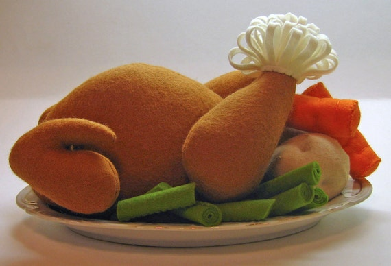 Wool Felt Play Food - Whole Chicken or Turkey