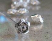 Fancy Silver Rose Metal Brass Beads 8mm  10