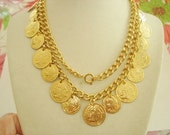Coin Style Necklace Dangle Gold Tone