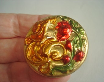 Lady Smelling Flowers Multi Color Brooch