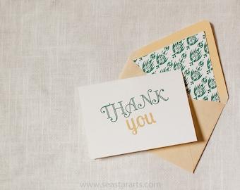 Thank You Card Gold Green Ikat Envelope Liner by Dodeline Design