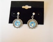 Aquamarine Swarovski Crystals antiqued Sterling Silverplated earrings, vintage style with Birth crystal choice,
