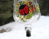 Hand Painted Hummingbird Feeder with Ladybug and Flowers on Crown Royal Bottle with Flower Feeder Spout