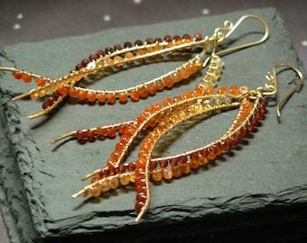 Flames Earrings. Mexican Fire Opal, Carnelian, Garnet, Gold Fill Statement Earrings, Wire Wrapped, Luxe, Designer, Ombre, Orange, Red