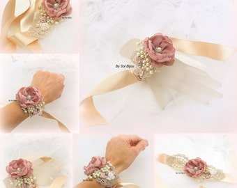 Wrist Corsage, Dusty Rose, Gold, Rose, Ivory, Corsage, Bracelet, Cuff, Elegant Wedding, Vintage Style,Bridal,Pearls, Crystals, Lace