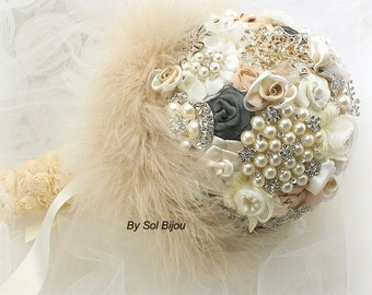 Brooch Bouquet, Champagne, Tan, Ivory, Cream, Charcoal, Gray, Vintage Wedding, Gatsby, Wedding Bouquet, Feather Bouquet, Pearls, Crystals