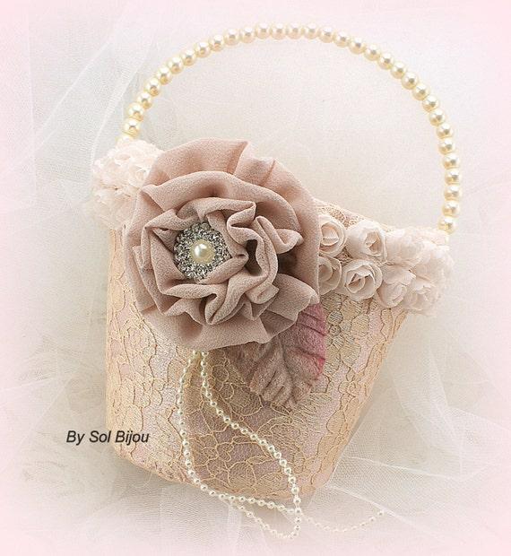 Flower Girl Basket Blush : Flower girl basket ivory blush gold champagne tan beige