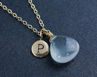 Ice Blue Aquamarine Initial Necklace - March Aquamarine - Birthstone Necklace
