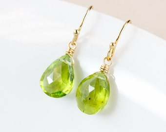 Green Peridot Earrings - August Birthstone Earrings - August Peridot