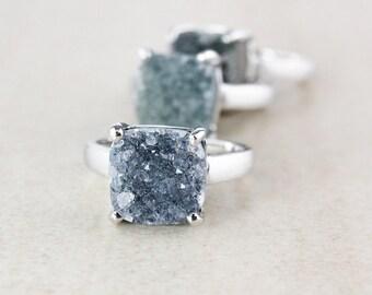 Silver Icy Druzy Ring Set - Choose Your Druzy - Cushion Cut
