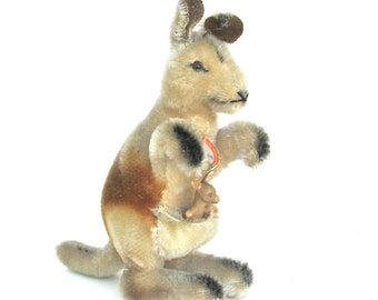 charming vintage steiff kangaroo  ...   linda and baby joey ...   looking for a new home to hop into