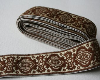 Vintage Woven Trim Silver and Brown Arts and Craft Style Motifl