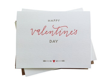 Happy Valentine's Day letterpress card - set of six