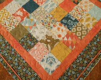 Quilted Table Topper in Moda's Persimmon Collection, Square Table Topper, Blue Orange and Gold