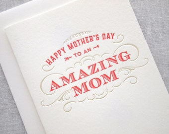 Letterpress Mother's Day Card - Happy Mother's Day to an Amazing Mom