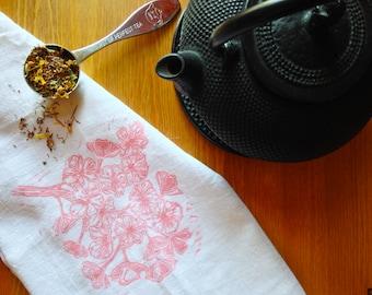 wood block print cherry blossom tea towel by color.joy