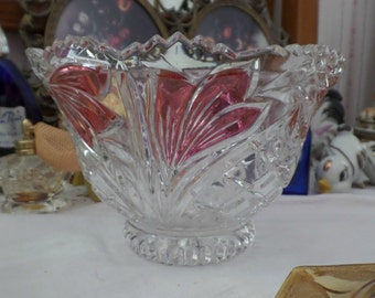 Vintage Anna Hutte 24% PbO Handarbeit Lead Crystal Bowl Candy Dish with Tag