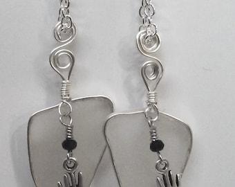 Clear Sea Glass w Hand Charm Earrings