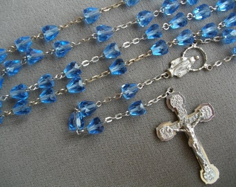 Vintage Crystal Rosary Crucifix Catholic Cross Jesus Catholic