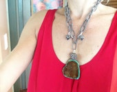 Modern, Green, Brown, Chunky, Stone, Statement, Long Pendant,  Necklace, Silk Chain, Ethnick, Silk Cord
