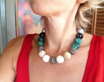 Statement Necklace, Natural Stone, Big and Bold, White, Green, Brown